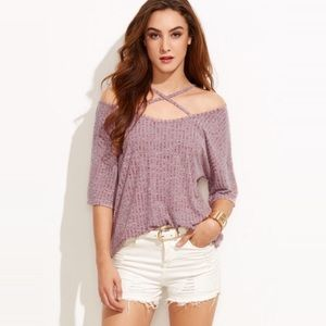 Tops - Strappy Cross Front Drapey Ribbed Short Sleeve Top